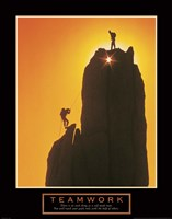 Teamwork-Sunset Climbers Fine Art Print