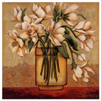 White Autumn Magnolias Fine Art Print