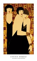 Three Women in Crimson Gold Mosaic Fine Art Print