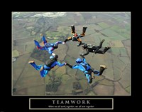 Teamwork-Skydivers II Framed Print