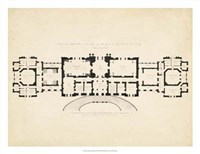 Antique Building Plan III Fine Art Print