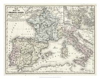 Map of France, Spain & Italy Fine Art Print