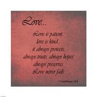 Love 1 Corinthians 13:4 Framed Print