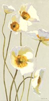 White on White Poppies Panel I Fine Art Print