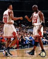 Michael Jordan & Scottie Pippen 1998 Action Framed Print
