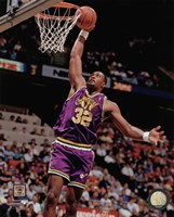 Karl Malone 1990 Action Framed Print