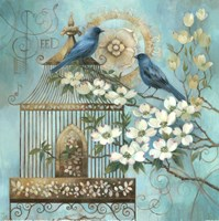 Blue Birds and Dogwood Framed Print