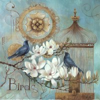 Blue Birds and Magnolia Fine Art Print