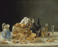 Still Life with Wine Bottles and Basket of Fruit, 1857 Fine Art Print