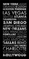 USA Cities Black Fine Art Print