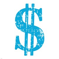 Blue Dollar Sign Fine Art Print