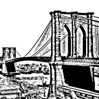 Black Brooklyn Bridge Framed Print