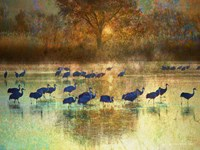 Cranes in Mist II Fine Art Print