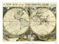 New Map Terra. Globe, Ox., 1700-01 Fine Art Print