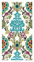 Jewel-tone Damask V Framed Print