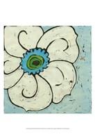 Aqua Batik Botanical II Fine Art Print