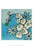 Aqua Batik Botanical IV Fine Art Print