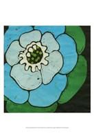 Aqua Batik Botanical V Fine Art Print