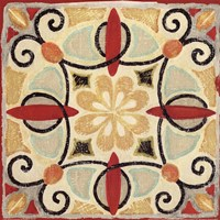 Bohemian Rooster Tile Square II Fine Art Print