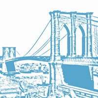 Blue Brooklyn Bridge Framed Print