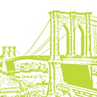 Lime Brooklyn Bridge Framed Print