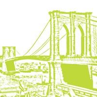 Lime Brooklyn Bridge Framed Print