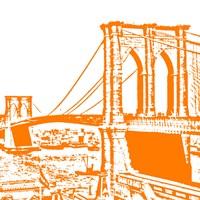 Orange Brooklyn Bridge Fine Art Print
