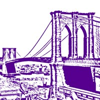 Purple Brooklyn Bridge Framed Print