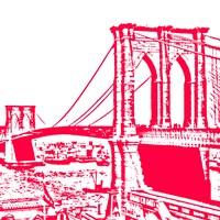 Red Brooklyn Bridge Framed Print