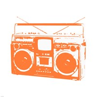 Orange Boom Box Framed Print