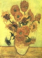 Still Life, Vase With Fifteen Sunflowers Fine Art Print