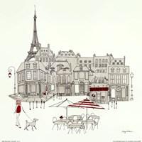 World Cafe II - Paris Red Framed Print