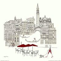 World Cafe IV - Venice Red Fine Art Print