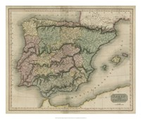 Vintage Map of Spain & Portugal Fine Art Print