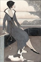 Art Deco Lady With Dog Fine Art Print