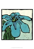 Teal Batik Botanical I Fine Art Print