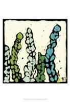 Teal Batik Botanical III Fine Art Print