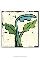 Teal Batik Botanical IV Fine Art Print