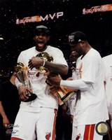 LeBron James & Dwyane Wade Celebrate after Game 7 of the 2013 NBA Finals Fine Art Print