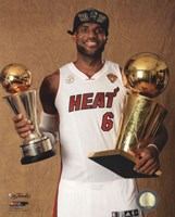 LeBron James with the NBA Championship & MVP Trophies Game 7 of the 2013 NBA Finals Fine Art Print
