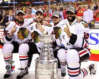 Viktor Stalberg, Niklas Hjalmarsson, Marcus Kruger, & Johnny Oduya with the Stanley Cup Game 6 of the 2013 Fine Art Print