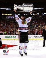 Jonathan Toews with the Stanley Cup Game 6 of the 2013 Stanley Cup Finals Fine Art Print