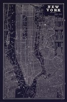 Blueprint Map New York Framed Print