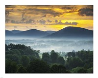 Asheville NC Blue Ridge Mountains Sunset and Fog Landscape Framed Print