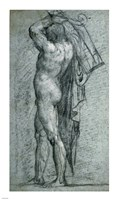 Nude Man Carrying a Rudder on His Shoulder Fine Art Print