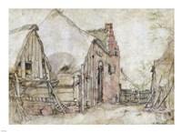View of a Farm Courtyard Fine Art Print