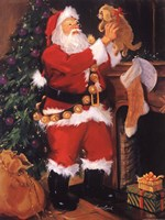Santa With Puppy Fine Art Print