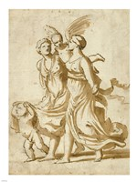 Two Girls Accompanied by Cupid Fine Art Print