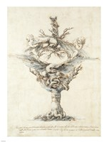 Design for a Ewer with Eagles and PuttI Fine Art Print