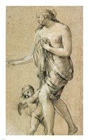 Study of a Female Figure with a Putto Fine Art Print